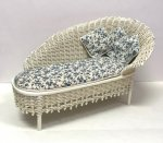 White Wicker Chaise by Peggy Taylor