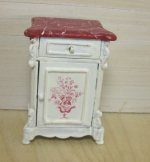 White Side Table with Red Marbelized Top I Red Floral Motif