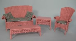 Pink Wicker Settee, Chair and Tables