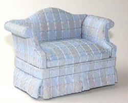 Blue Tattersall Upholstered Loveseat