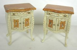 Maritza Moran Painted Commode Side Tables, Pair