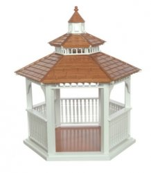 Gazebo, White with Pecan Roof