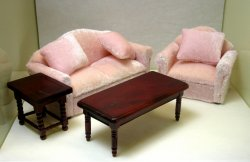 """Starter"" Living Room Set, Four Piece, Pink"