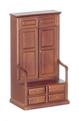 Tall Cabinet with Bench, Walnut