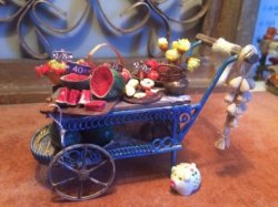 Blue Metal Fruit Cart