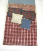 Double Bed Set, Deep Red Plaid