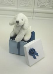 Stuffed Dog in Blue Gift Box