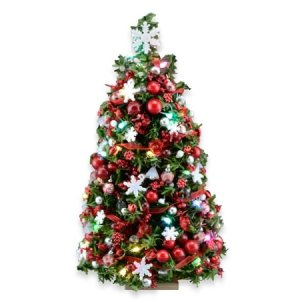 "7"" Red & White Snowflake Lighted Christmas Tree"