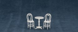 Three Piece Cafe Table Set, White
