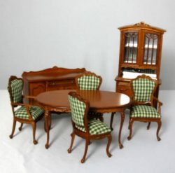 French Dining Room Set, Walnut, 7 Piece