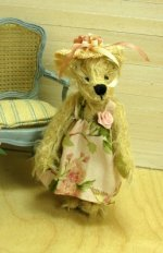 Lulu, French Teddy Bear in Pink Floral Sundress and Straw Hat