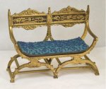 Gold Roman Style Settee with Beaded Blue Cushion, Julie Stewart