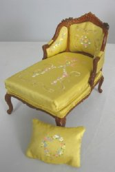 French Provincial Chaise with Hand Painted Upholstery, Yellow
