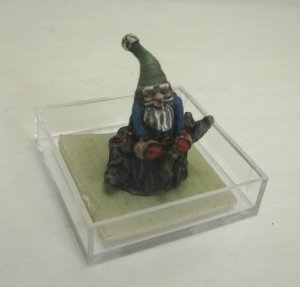 Tiny Garden Gnome Figurine, Blue Shirt