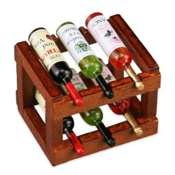 Wood Wine Rack with Wine