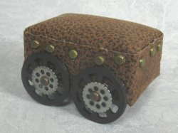 Motley Footstool on Wheels, Steampunk Style