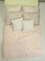 Double Bed Set, Peach and White Leaf Print
