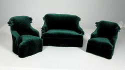 Tassel Sofa and Chairs, Green Velvet