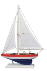 Wooden USA Model Sailer sailboat, 17""