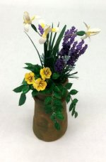 Iris, Pansies, and Lavender in Clay Chimney Pot Paula Gilhooley