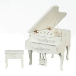 Carved Grand Piano and Bench, White