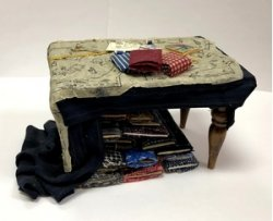 Sewing Table with Pattern on Fabric