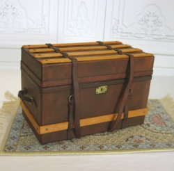Leather and Wood Trunk with Insert