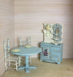 Blue and White Shabby Dining Set, 4 Piece