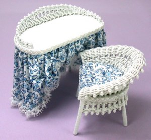 Wicker Vanity and Chair