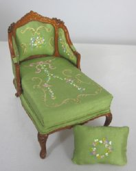 French Provincial Chaise with Hand Painted Upholstery, Green