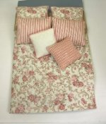 Double Bed Set, Rose and Tan Floral