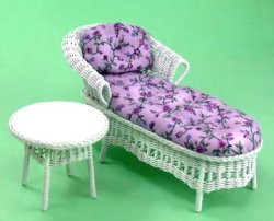 Wicker Chaise and Side Table