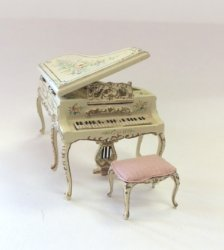 Half-Inch Scale Piano and Bench, Wildflower Design