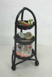 "3-Tier ""Wicker"" Sewing Stand, Black"