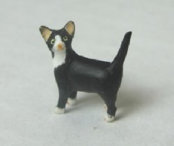 Half-Inch Scale Cat, Black with White Socks, Standing
