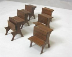 "Set of Two 1/2"" Scale School Desks by MR Miniatures"