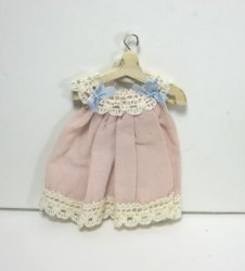 Toddler's Dress in Pink Silk on Wooden Hanger