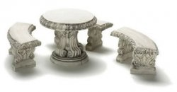 Round Table with Three Curved Benches, Gray