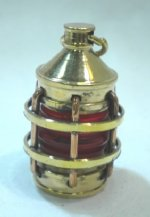Brass Ship's Lantern with Red Glass