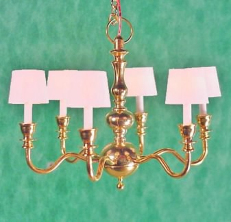6-Arm Brass Chandelier with White Shades