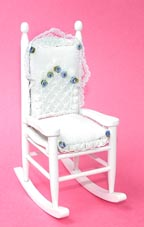 White Rocker with Delicate Blue Accents