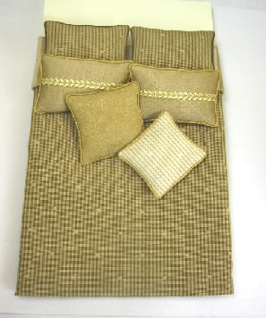 Double Bed Set, Gold Striped Silk