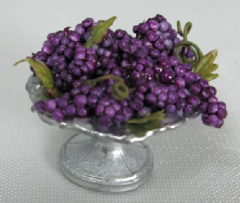 Purple Grapes in Pedestal Dish