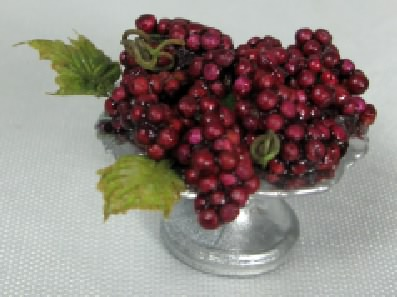 Red Grapes in Pedestal Dish