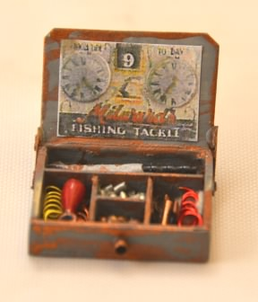 Fishing Tackle in Wooden Box