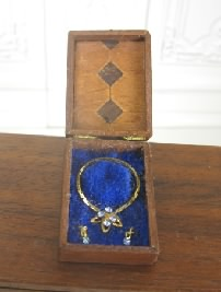 Blue Jeweled Necklace & Earrings in inlaid box by L. Kasza