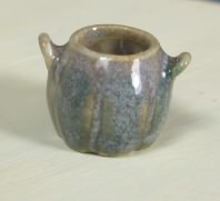 "1/2"" Scale Two Handled Pot, Tan and Gray Vase"