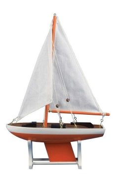 Floating Orange Model Sailboat, 12""
