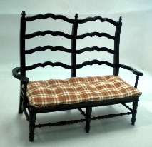 Country French Settee, Black with Red Plaid Seat