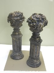 Pair of Fruit Pedestals, Bronzed and Antiqued